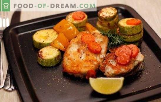 Kabeljauw in de oven - caloriearm, smakelijk, stijlvol. Hoe kabeljauw steak in de oven koken met groenten, saus, champignons, wijn