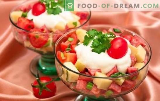 Salade met worst en kaas: snelle recepten. Een verscheidenheid aan componenten en functies voor het bereiden van salades met worst en kaas