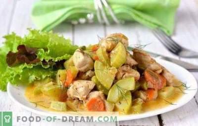 Kip met courgette in een slowcooker is een smakelijke combinatie. De beste recepten voor kip met courgette in een slowcooker: gebraden, rijst en champignons