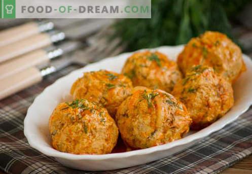 Gehaktballetjes van kip - bewezen recepten. Hoe goed en smakelijk gekookte kip gehaktballen.