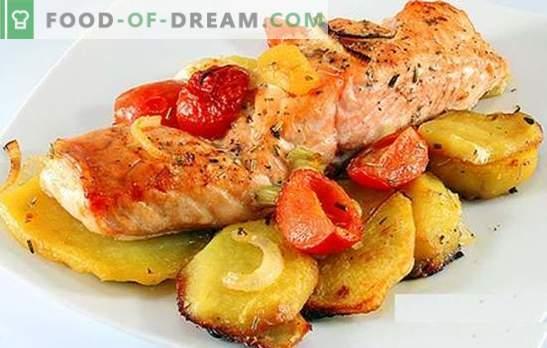 Roze zalm met aardappelen - een geweldige combinatie! Recepten voor roze zalm en aardappelen: gevuld, in zure room, met saus, in marinade