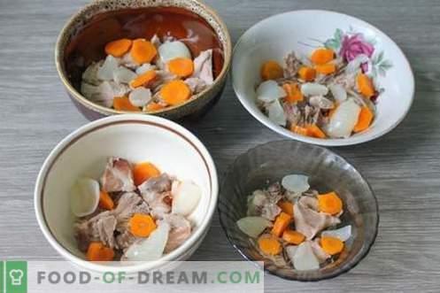 Varkensvleesknokkelgelei - voedzame, bevredigende en smakelijke schotel