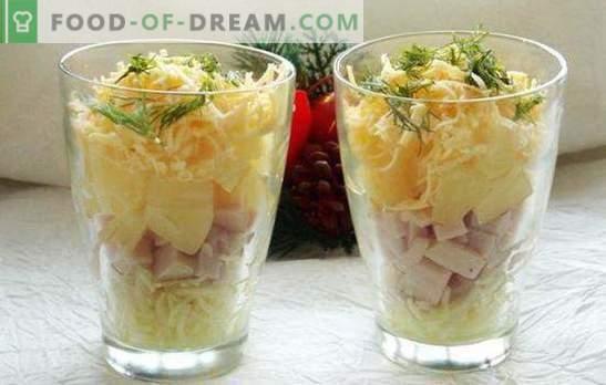 Salade cocktail met ham - schoonheid! Recepten voor cocktailsalades met ham en groenten, kaas, maïs, ananas, kip