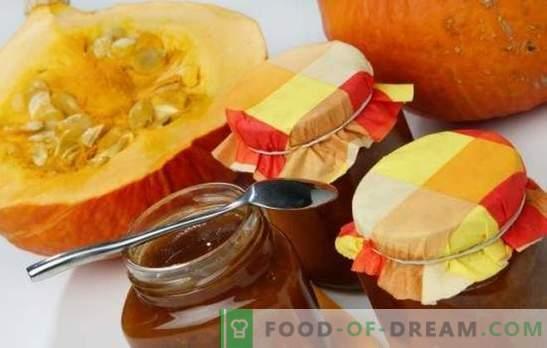 Pumpkin jam is een licht smakelijke delicatesse in reserve! Recepten zonnebloem pompoen jam met citrus, appels, noten