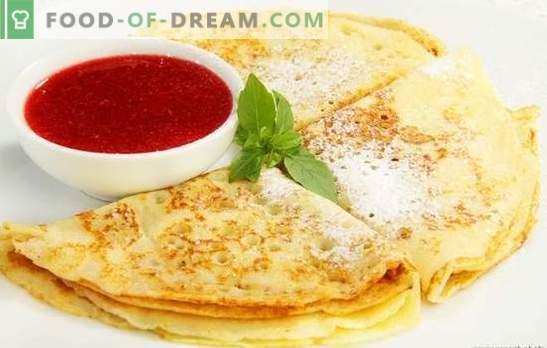 Dunne Kefir-pannenkoeken - een alternatief voor pannenkoeken met melk. Een selectie van verschillende recepten voor dunne pannenkoeken op kefir