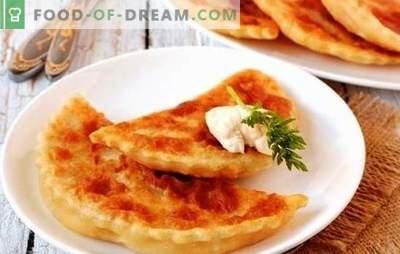 Flapjacks met kaas en kruiden in een koekenpan zijn de toverstaf van de gastvrouw. Een selectie van recepten tortilla's met kaas en kruiden