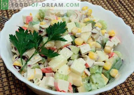 Salade met avocado- en krabsticks - de beste recepten. Hoe goed en smakelijk een salade van avocado- en krabsticks bereiden.