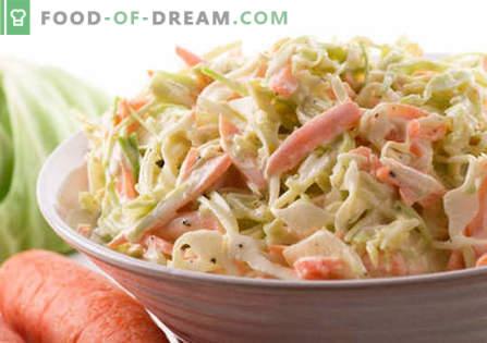Ensalada de col con mayonesa - las mejores recetas. Cómo cocinar adecuadamente y sabrosa ensalada con col y mayonesa.