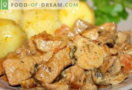 Varkensvlees met champignons - de beste recepten. Hoe goed en smakelijk varkensvlees met champignons koken.