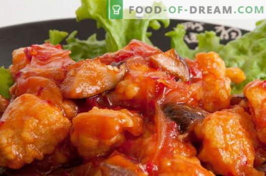 Kip in een zoetzure saus - de beste recepten. Hoe een kip op de juiste manier en lekker te koken in een zoetzure saus.