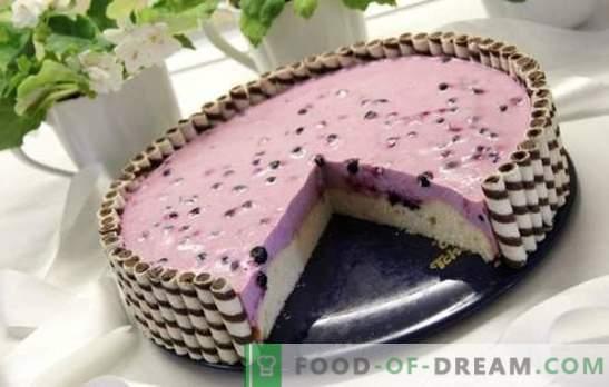 Yoghurtcake - dieet dessert! Recepten delicate yoghurtcakes met biscuitgebak, bessen en gelei