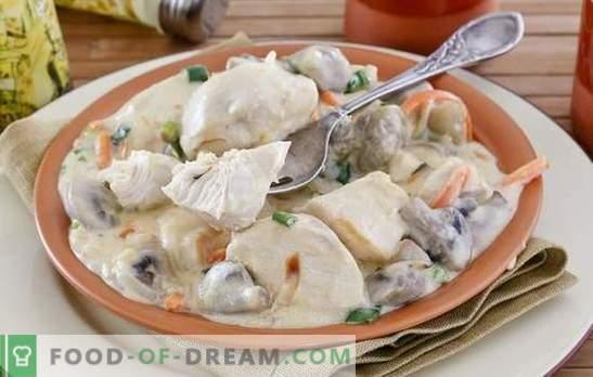Kipfilet met champignons - een sterke combinatie! Recepten van verschillende gerechten van kipfilet met champignons