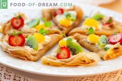 Dunne pannenkoeken - bewezen recepten. Hoe goed en smakelijk dunne pannenkoeken koken.