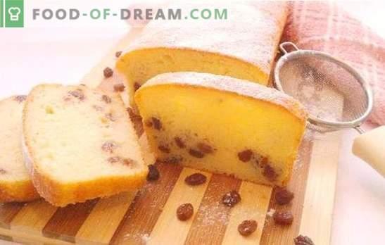Kwarktaart met rozijnen - altijd luchtig en zacht! De beste recepten voor muffins van feestelijke en alledaagse cottage cheese met rozijnen