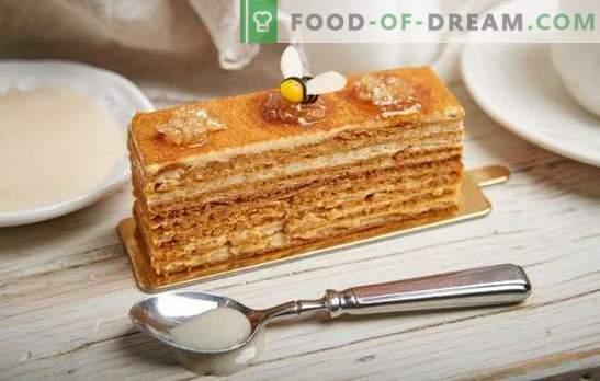 Zo kookt u eenvoudig een heerlijke honingcake met gecondenseerde melk. Klassieke en originele recepten voor honingtaarten met gecondenseerde melk