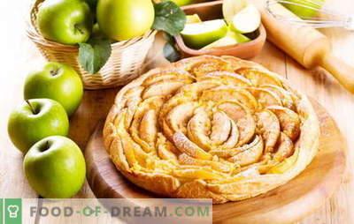 Een cake met bladerdeeg maken met appels. Appel, kaneel, rozijn en abrikozenjamlaag cake