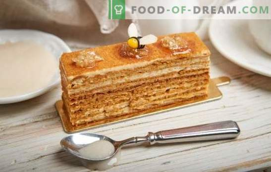 Honingtaart: stap voor stap recept met een foto van je favoriete cake. Thuis koken door stapsgewijze recepten met een foto van een zachte klassieke of nootachtige honingcake