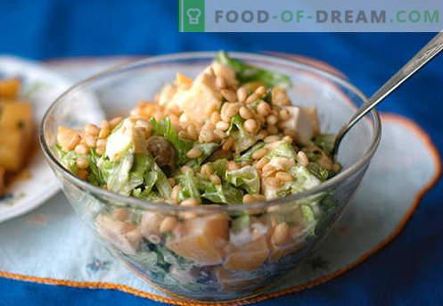 Salade met pijnboompitten - de beste recepten. Hoe goed en smakelijk een salade bereiden met pijnboompitten.