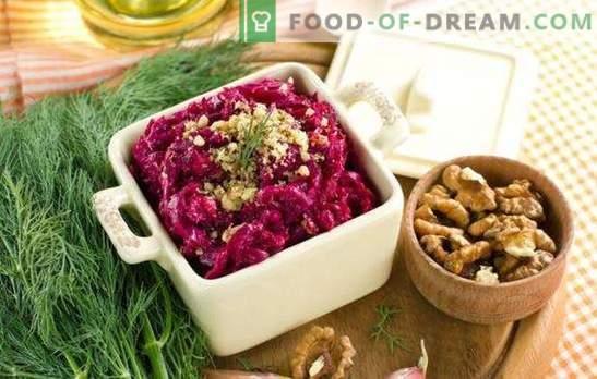 Goedkoop - betekent niet primitief: bietensalades met kaas. TOP eenvoudige salades van bieten met kaas en niet alleen