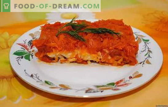 Uniek in eenvoud: gemarineerde vis in wortelen en uien. Koken vis onder de marinade van wortelen en uien, met wijn, honing