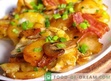 Aardappelen met champignons - de beste recepten. Hoe goed en smakelijk aardappelen met champignons koken.