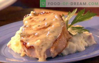 Porco em creme - as melhores receitas. Métodos de cozimento de carne de porco em creme: com cogumelos, alho, cebola, ameixa seca