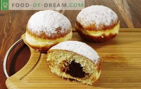 Blozende donuts met vulling - zelfs naar de tafel, zelfs op de weg. Een snelle snack kan donuts zijn gevuld met fruit