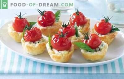 Invullingen voor tartlets voor een snack - heerlijk! Recepten die voor tartlets vullen voor een snack met kaas, kip, garnalen, paddestoelen