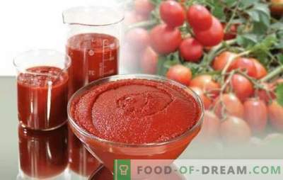 Tomatenpuree voor de winter is een universele bewaring. Hoe maak je een heerlijke pasta van tomaten voor de winter: dik en pittig