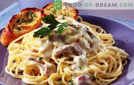 Pasta carbonara met ham en room - eet smakelijk! Italiaanse pasta recepten carbonara met ham en room