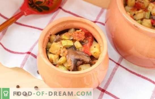 Stoofpotten in de pan in de oven: recepten en geheimen. Hoe plantaardige, vlees, champignons stoofpotjes koken in potten in de oven