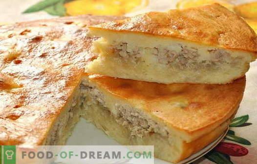 Taart met vlees en aardappelen - de beste recepten. Hoe goed en smakelijk koken pasteitjes met vlees en aardappelen.