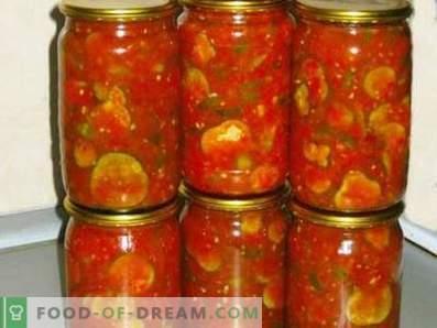Komkommers in tomatensaus voor de winter