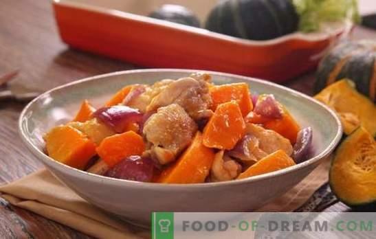 Kip met pompoen in de oven - gevogelte gerechten zonder onnodige problemen. Bak hele of gesneden kip met pompoen in de oven